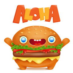 Cartoon burger emoticon character with aloha title