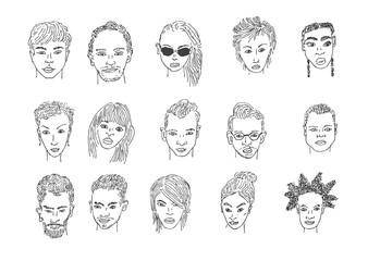 People faces drawing. Men and women faces hand drawing cartoon. Pencil sketching.