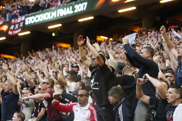 Ajax fans in the stands before the match