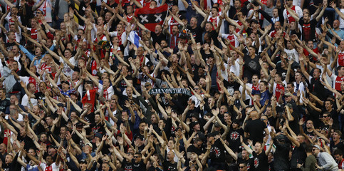 Ajax fans inside the stadium before the match