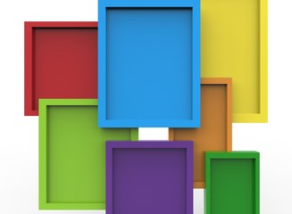 3d illustration of colorful frames. white background isolated. icon for game web.