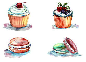 Set of watercolor cakes and pastries