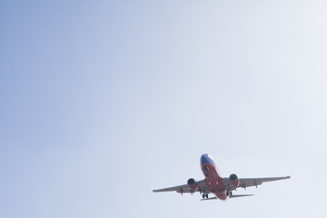 Plane landing at LAX, shot from Sepulveda, Los Angeles County, California, USA