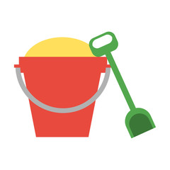 toy bucket with sand and shovel icon image vector illustration design