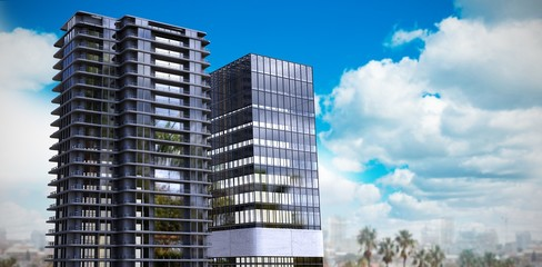 Composite image of 3d composite image of office buildings