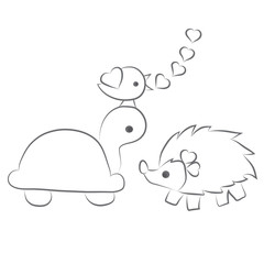 Hedgehog, turtle, bird