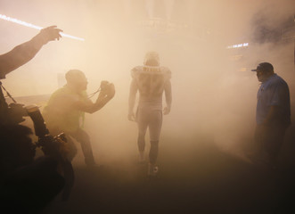 San Diego Chargers' Weddle is introduced before playing Houston Texans in Monday Night NFL football game in San Diego