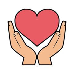 hand holding heart cartoon icon image vector illustration design