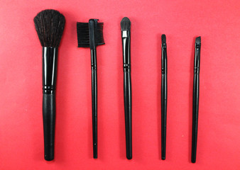 Make up table in beauty salon.Set of professional brushes for makeup.Make up beauty salon equipment for visage.Face makeup artist brush tool kit.Visagiste studio equipment for facial beauty visage