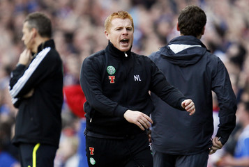Celtic manager Neil Lennon reacts to a referee decision during their Scottish Premier League 'Old Firm' soccer match against Rangers at Ibrox stadium in Glasgow