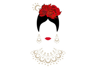 Portrait of modern Latin or Spanish woman, Lady with necklace crafts and red flowers ,Icon isolated, Vector illustration transparent background