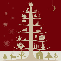 Merry Christmas And Happy New Year set vector illustration