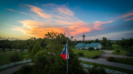 Texas Flag at sunset