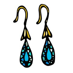 Gold Jewellery Earrings With Blue or Turquoise Gemstones Drop Shape. Isolated On a White Background Doodle Cartoon Vintage Hand Drawn Sketch