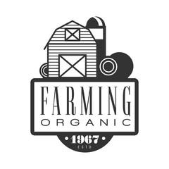 Farming organic estd 1967 logo. Black and white retro vector Illustration