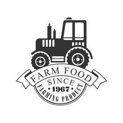 Farm food farming product since 1967 logo. Black and white retro vector Illustration