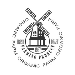 Organic farm, farming product fresh draft logo. Black and white retro vector Illustration
