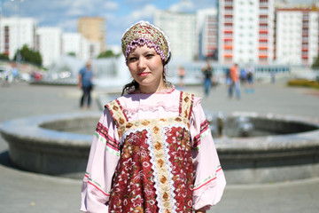Woman in Russian folk costume