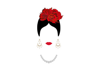 Portrait of modern Latin or Spanish woman, Lady with pearl necklace and red flowers ,Icon isolated, Vector illustration transparent background