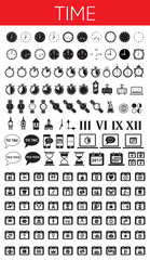 TIME black solid icons