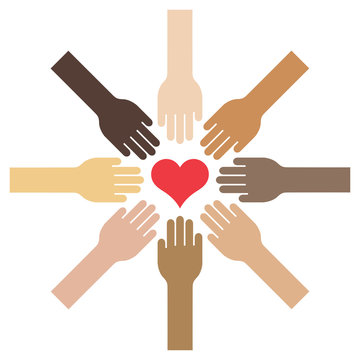 Extended hands with different skin tones towards a centered heart - Vector Illustration