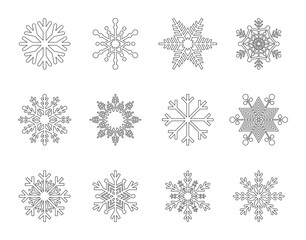 Snowflakes Vector Outline Icons