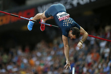 Renaud Lavillenie of France competes in the Pole Vault Men Qualification event during the IAAF Diamond League athletics meeting at the Stade de France Stadium in Saint-Denis, near Paris