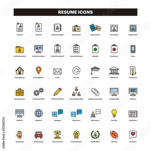 CV Resume Outline Icons Stockfotos Und Lizenzfreie Vektoren Auf Fotolia