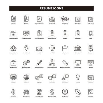 CV & Resumé outline icons