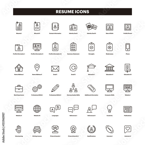 u0026quot cv  u0026 resum u00e9 outline icons u0026quot  stock image and royalty