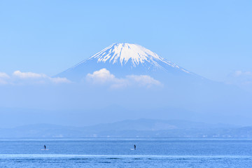 富士山 スタンドアップパドル 海 青空