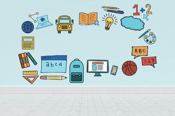 Composite image of illustrative image of education model