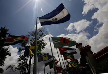 Flags of CELAC states (Community of Latin American and Caribbean States) are pictured outside the mausoleum of late President Hugo Chavez at the 4F military fort in Caracas