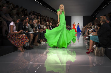 A model presents a creation from the Ralph Lauren Spring/Summer 2014 collection during New York Fashion Week