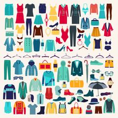 Men and women clothes vector icon set.