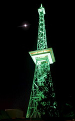 The radio tower goes green in honor of St. Patrick's Day in Berlin