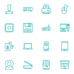 Set Of 16 Notebook Outline Icons Set.Collection Of Web Cam, Hdd, Speaker And Other Elements.