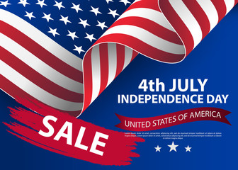 Fourth of july independence day of the usa. Independence day background and badge logo with US flag. 4th july independence day of the usa. Symbol of 4th july celebration the United State of America