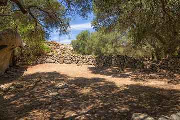 The island of Sardinia, Italy. Arzachena: ruins of the megalithic prehistoric complex of Nuraghe Albuccio, around 1600 BC