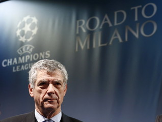 UEFA Vice-President Villar Llona of Spain attends the draw of the UEFA Champions League semi-finals in Nyon
