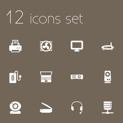 Set Of 12 Computer Icons Set.Collection Of Show, Fan, Display And Other Elements.