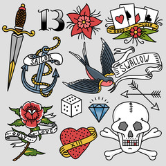 Old school vintage retro tattoo ink art style hand drawn tattooing symbol traditional graphic drawing vector illustration