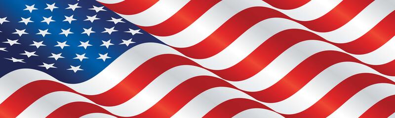 USA flag long drawn landscape background