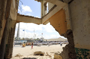 Students and residents demonstrate against the illegal operation of Italian fishing vessels in the waters of the Indian Ocean near Somalia, in the capital Mogadishu