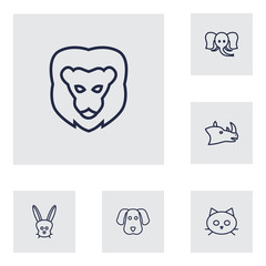 Set Of 6 Beast Outline Icons Set.Collection Of Elephant, Dog, Lion And Other Elements.