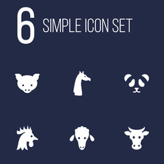 Set Of 6 Beast Icons Set.Collection Of Hog, Bear, Camelopard And Other Elements.