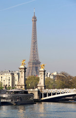 Riverside of Paris with Eiffel tower