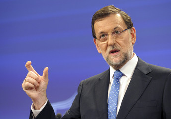Spain's Prime Minister Rajoy attends a news conference at the European Commission in Brussels