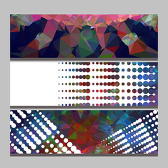Set of horizontal banners with abstract mosaic pattern and dots.Vector clip art.