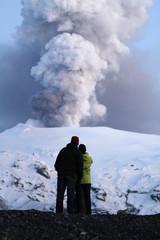 People look at Iceland's Eyjafjallajokull volcano